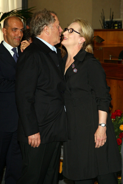 Actress Meryl Streep kisses her husband Don Gummer as she receives the Marc'Aurelio award at a ceremony during Day 9 of the 4th International Rome Film Festival held at the Capital Hill on October 23, 2009 in Rome, Italy.