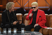 "Thomas Gottschalk (L) and Heino sit on a couch during the taping of the show ""50 Jahre Hitparade"" on April 12, 2019 in Offenburg, Germany. The show will air on ZDF on April 27, 2019."