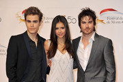 Paul Wesley (L), Nina Dobrev (C) and Ian Somerhalder (R) arrive to attend the opening night of the 2010 Monte Carlo Television Festival held at Grimaldi Forum on June 6, 2010 in Monte-Carlo, Monaco.
