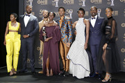 (L-R) Carrie Bernans, Winston Duke, Michael B. Jordan, Lupita Nyong'o, Chadwick Boseman, Danai Gurira, Sterling K. Brown, and Letitia Wright, winners of Outstanding Motion Picture and Outstanding Ensemble Cast in a Motion Picture for 'Black Panther', attend the 50th NAACP Image Awards at Dolby Theatre on March 30, 2019 in Hollywood, California.