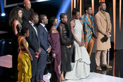 "The cast of ""Black Panther""  onstage at the 50th NAACP Image Awards at Dolby Theatre on March 30, 2019 in Hollywood, California."