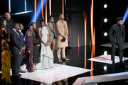 "Ryan Coogler (R) and the cast of ""Black Panther""  speak onstage at the 50th NAACP Image Awards at Dolby Theatre on March 30, 2019 in Hollywood, California."