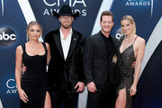 (FOR EDITORIAL USE ONLY) (L-R) Brittney Marie Kelley, Brian Kelley and Tyler Hubbard of musical duo Florida Georiga Line and Hayley Hubbard attend the 52nd annual CMA Awards at the Bridgestone Arena on November 14, 2018 in Nashville, Tennessee.
