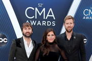 (FOR EDITORIAL USE ONLY)  (L-R) Dave Haywood, Hillary Scott and Charles Kelley of Lady Antebellum attend the 52nd annual CMA Awards at the Bridgestone Arena on November 14, 2018 in Nashville, Tennessee.