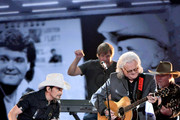 (FOR EDITORIAL USE ONLY) Singer-songwriter Brad Paisley and Singer Ricky Skaggs perform onstage during the 52nd annual CMA Awards at the Bridgestone Arena on November 14, 2018 in Nashville, Tennessee.