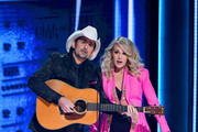 (FOR EDITORIAL USE ONLY) Hosts Brad Paisley and Carrie Underwood speak onstage during the 52nd annual CMA Awards at the Bridgestone Arena on November 14, 2018 in Nashville, Tennessee.