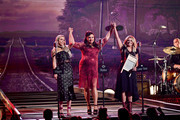 (FOR EDITORIAL USE ONLY) Singers Ashley Monroe, Angaleena Presley, and Miranda Lambert of Pistol Annies perform onstage during the 52nd annual CMA Awards at the Bridgestone Arena on November 14, 2018 in Nashville, Tennessee.