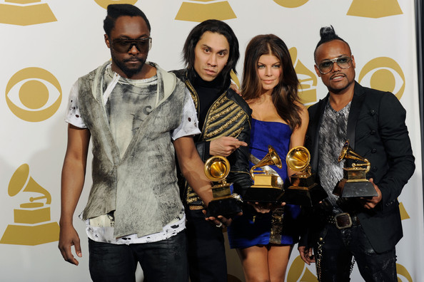 Musicians Will.i.am, Taboo, Fergie and apl.de.ap of Black Eyed Peas poses with Best Pop Performace award for 'I Got A Feeling', Best Pop Vocal Album award for 'The E.N.D.' and Best Short Form Music Video for 'Boom Boom Pow' in the press room during the 52nd Annual GRAMMY Awards held at Staples Center on January 31, 2010 in Los Angeles, California.