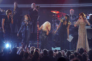 (L-R) Singers Yolanda Adams; Martina McBride, Christina Aguilera, Jennifer Hudson and Florence Welch attends The 53rd Annual GRAMMY Awards held at Staples Center on February 13, 2011 in Los Angeles, California.