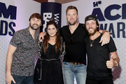(L-R) Dave Haywood, Hillary Scott, and Charles Kelley of Lady Antebellum and Chris Janson attend the 54th Academy Of Country Music Awards Cumulus/Westwood One Radio Remotes on April 06, 2019 in Las Vegas, Nevada.