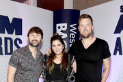 (L-R) Dave Haywood, Hillary Scott, and Charles Kelley of Lady Antebellum attend the 54th Academy Of Country Music Awards Cumulus/Westwood One Radio Remotes on April 06, 2019 in Las Vegas, Nevada.