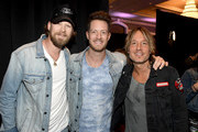 (L-R) Brian Kelley and Tyler Hubbard of Florida Georgia Line and Keith Urban attend the 54th Academy Of Country Music Awards Cumulus/Westwood One Radio Remotes on April 06, 2019 in Las Vegas, Nevada.