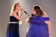 (L-R) Carrie Underwood and Chrissy Metz perform onstage during the 54th Academy Of Country Music Awards at MGM Grand Garden Arena on April 07, 2019 in Las Vegas, Nevada.
