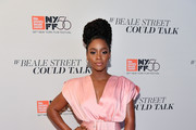 "Teyonah Parris attends the ""If Beale Street Could Talk"" U.S. premiere during the 56th New York Film Festival at The Apollo Theater on October 09, 2018 in New York City."