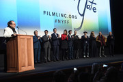 "Julian Schnabel speaks onstage with Willem Dafoe, Oscar Isaac, Rupert Friend, Stella Schnabel, Vladimir Consigny, Tatiana Lisovkaia, Benoit Delhomme, Louise Kugelberg, Jean-Claude Carriere and Jon Kilik at the ""At Eternity's Gate"" premiere during the 56th New York Film Festival at Alice Tully Hall, Lincoln Center on October 12, 2018 in New York City."