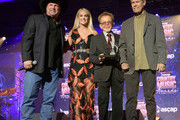 (L-R) Garth Brooks, Carrie Underwood, Paul Williams and Randy Travis seen onstage during the 57th Annual ASCAP Country Music Awards on November 11, 2019 in Nashville, Tennessee.