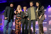 (L-R) Garth Brooks, Carrie Underwood, Paul Williams, Randy Travis and Mary Davis seen onstage during the 57th Annual ASCAP Country Music Awards on November 11, 2019 in Nashville, Tennessee.