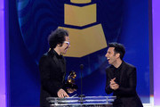 Musicians Ian Axel (L) and Chad Vaccarino of A Great Big World speak onstage during the The 57th Annual GRAMMY Awards Premiere Ceremony at Nokia Theatre L.A. Live on February 8, 2015 in Los Angeles, California.