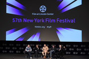 "Writer/director Olivier Assayas, Penelope Cruz,Edgar Ramirez, producer Rodrigo Teixeira and Kent Jones attend the 57th New York Film Festival - ""Wasp Network"" Press Conference at Walter Reade Theater on October 04, 2019 in New York City."