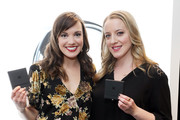 Actors Kara Lindsay (L) and Abby Mueller attend the GRAMMY Gift Lounge during the 60th Annual GRAMMY Awards at Madison Square Garden on January 25, 2018 in New York City.