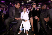 (L-R) Jay-Z, Blue Ivy and Beyonce Knowles attend the 60th Annual GRAMMY Awards at Madison Square Garden on January 28, 2018 in New York City.
