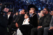(L-R) Recording artist Jay-Z, Ivy Blue Carter and recording artist Beyonce Knowles attend the 60th Annual GRAMMY Awards at Madison Square Garden on January 28, 2018 in New York City.