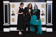 """(L-R) Annie Stoll, """"Weird Al"""" Yankovic, and Meghan Foley, winners of Best Boxed Or Special Limited Edition Package for 'Squeeze Box: The Complete Works Of """"Weird Al"""" Yankovic', pose in the press room during the 61st Annual GRAMMY Awards at Staples Center on February 10, 2019 in Los Angeles, California."""