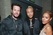 (L-R) Mark Wahlberg, Jaden Smith and Jada Pinkett Smith backstage during the 61st Annual GRAMMY Awards at Staples Center on February 10, 2019 in Los Angeles, California.