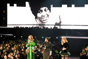 An image of the late Aretha Franklin is projected on a screen while (L-R) Yolanda Adams, Fantasia, and Andra Day perform onstage during the 61st Annual GRAMMY Awards at Staples Center on February 10, 2019 in Los Angeles, California.