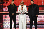 (L-R) Kane Brown, Meghan Trainor, and Luke Combs speak onstage during the 61st Annual GRAMMY Awards at Staples Center on February 10, 2019 in Los Angeles, California.