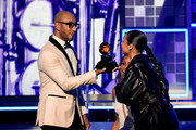 Swizz Beatz (L) and Alicia Keys onstage during the 61st Annual GRAMMY Awards at Staples Center on February 10, 2019 in Los Angeles, California.