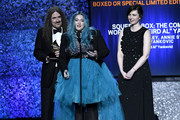 'Weird Al' Yankovic, Annie Stoll and Meghan Foley accept Best Boxed Or Special Limited Edition Package for 'Squeeze Box: The Complete Works Of 'Weird Al' Yankovic' at the premiere ceremony during the 61st annual GRAMMY Awards at Staples Center on February 10, 2019 in Los Angeles, California.