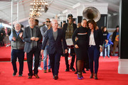 Neil Portnow, Ken Ehrlich, Alicia Keys, Chantel Saucedo, and Jack Sussman attend the 61st Annual GRAMMY Awards Red Carpet Roll Out and Preview Day at Staples Center on February 07, 2019 in Los Angeles, California.