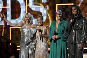 (L-R) Lady Gaga, Jada Pinkett Smith, host Alicia Keys, and Michelle Obama speak onstage during the 61st Annual GRAMMY Awards at Staples Center on February 10, 2019 in Los Angeles, California.
