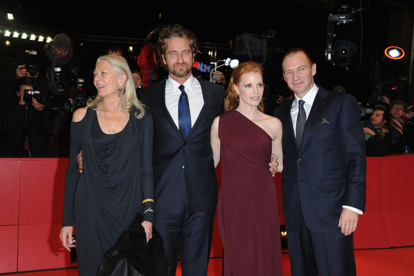 (L-R) Actors Vanessa Redgrave, Gerard Butler, Jessica Chastain  Ralph Fiennes attend the 'Coriolanus' Premiere during day five of the 61st Berlin International Film Festival at Berlinale Palace on February 14, 2011 in Berlin, Germany.