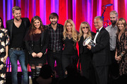 (L-R) Singers Vanessa Carlton, Charles Kelley, Hillary Scott, Dave Haywood, Shakira, Del Bryant, BMI President, singers Adam Levine of Maroon 5 and Sheryl Crow present the 2014 BMI Icon Award to singer-songwriter Stevie Nicks (4th from right) onstage at the 62nd annual BMI Pop Awards at the Regent Beverly Wilshire Hotel on May 13, 2014 in Beverly Hills, California.
