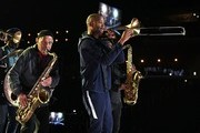 Charlie Gabriel from the Preservation Hall with Trombone Shorty rehearse onstage for the 62nd Annual GRAMMY Awards at STAPLES Center on January 24, 2020 in Los Angeles, California.