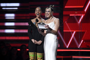 Alicia Keys and Dua Lipa speak onstage during the 62nd Annual GRAMMY Awards at Staples Center on January 26, 2020 in Los Angeles, California.