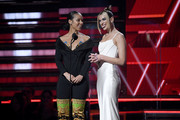 (L-R) Host Alicia Keys and Dua Lipa speak onstage during the 62nd Annual GRAMMY Awards at Staples Center on January 26, 2020 in Los Angeles, California.