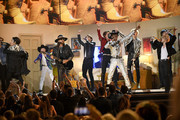 (L-R) Billy Ray Cyrus, BTS and Lil Nas X perform onstage during the 62nd Annual GRAMMY Awards at Staples Center on January 26, 2020 in Los Angeles, California.