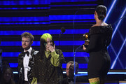 """(L-R) Billie Eilish and Finneas O'Connell accept Album of the Year for """"When We All Fall Asleep, Where Do We Go?"""" onstage during the 62nd Annual GRAMMY Awards at Staples Center on January 26, 2020 in Los Angeles, California."""