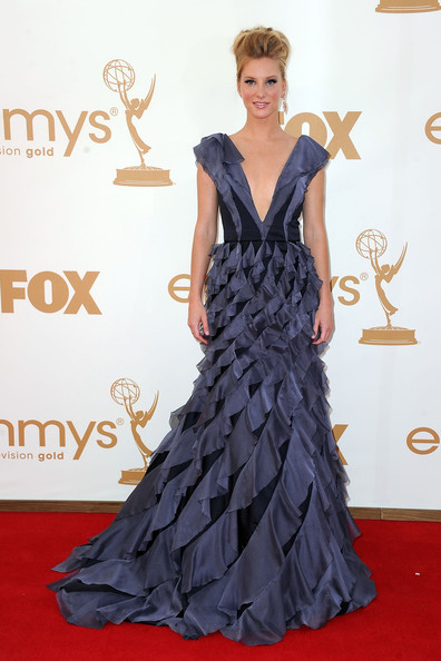 Actress Heather Morris arrives at the 63rd Annual Primetime Emmy Awards held at Nokia Theatre L.A. LIVE on September 18, 2011 in Los Angeles, California.