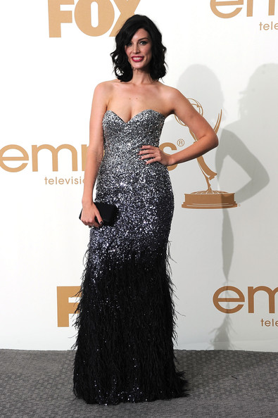 Actress Jessica Pare of 'Mad Men' poses in the press room after 'Mad Men' wins Outstanding Drama Series during the 63rd Annual Primetime Emmy Awards held at Nokia Theatre L.A. LIVE on September 18, 2011 in Los Angeles, California.