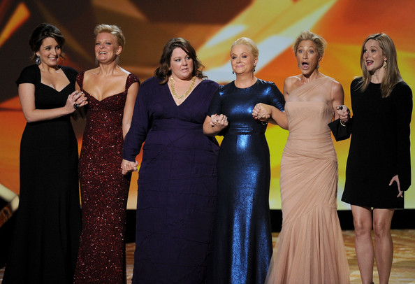 (L-R) Outstanding Lead Actress in a Comedy Series nominees Tina Fey, Martha Plimpton, Melissa McCarthy, Amy Poehler, Edie Falco, and Laura Linney onstage during the 63rd Annual Primetime Emmy Awards held at Nokia Theatre L.A. LIVE on September 18, 2011 in Los Angeles, California.