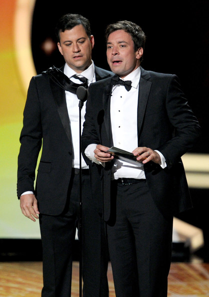 TV show host's Jimmy Kimmel (L) and Jimmy Fallon speak onstage during the 63rd Annual Primetime Emmy Awards held at Nokia Theatre L.A. LIVE on September 18, 2011 in Los Angeles, California.