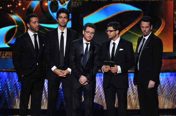 (L-R) Actors Jeremy Piven, Adrian Grenier, Kevin Connolly, Jerry Ferrara, and Kevin Dillon speak onstage during the 63rd Annual Primetime Emmy Awards held at Nokia Theatre L.A. LIVE on September 18, 2011 in Los Angeles, California.