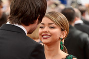 (L-R) Actors Matt Prokop and Sarah Hyland arrive at the 65th Annual Primetime Emmy Awards held at Nokia Theatre L.A. Live on September 22, 2013 in Los Angeles, California.