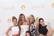 "Actresses Sarah Hyland, Sofía Vergara, Aubrey Anderson-Emmons, Julie Bowen and Ariel Winter, winners of the Outstanding Comedy Series Award for ""Modern Family"" pose in the press room during the 66th Annual Primetime Emmy Awards held at Nokia Theatre L.A. Live on August 25, 2014 in Los Angeles, California."