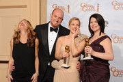 """(L-R) Producer Rachael Horovitz, Director Michael Sucsy, actress Drew Barrymore, executive producer Lucy Barzun Donnelly, winners of the Best Mini-Series or Motion Picture Made for Television for """"Grey Gardens"""" pose in the press room at the 67th Annual Golden Globe Awards held at The Beverly Hilton Hotel on January 17, 2010 in Beverly Hills, California."""