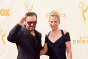 Actor Ricky Gervais and Jane Fallon attend the 67th Annual Primetime Emmy Awards at Microsoft Theater on September 20, 2015 in Los Angeles, California.